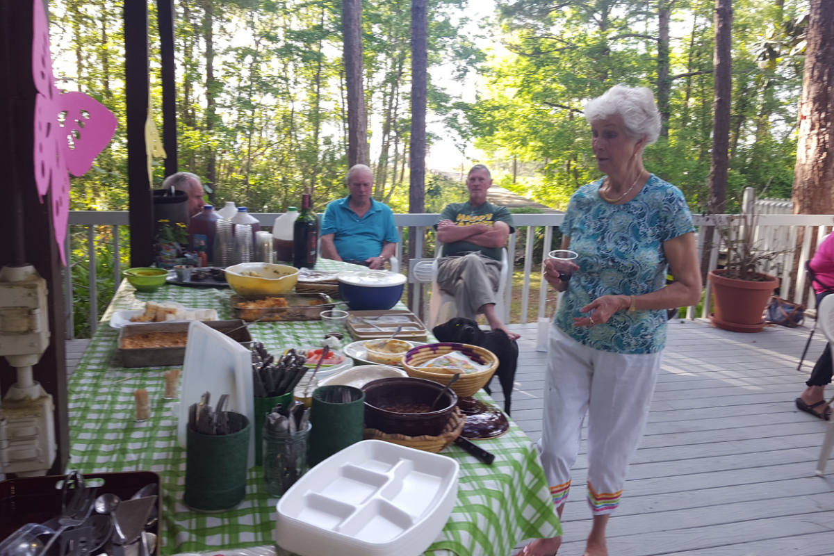 Our hostess, Joyce Estes, looks over the delicious refreshments