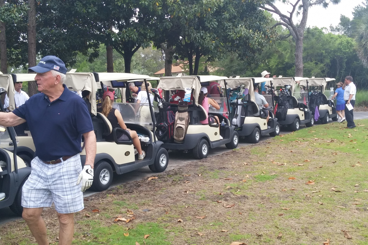 The carts are lined up and the players are ready to begin